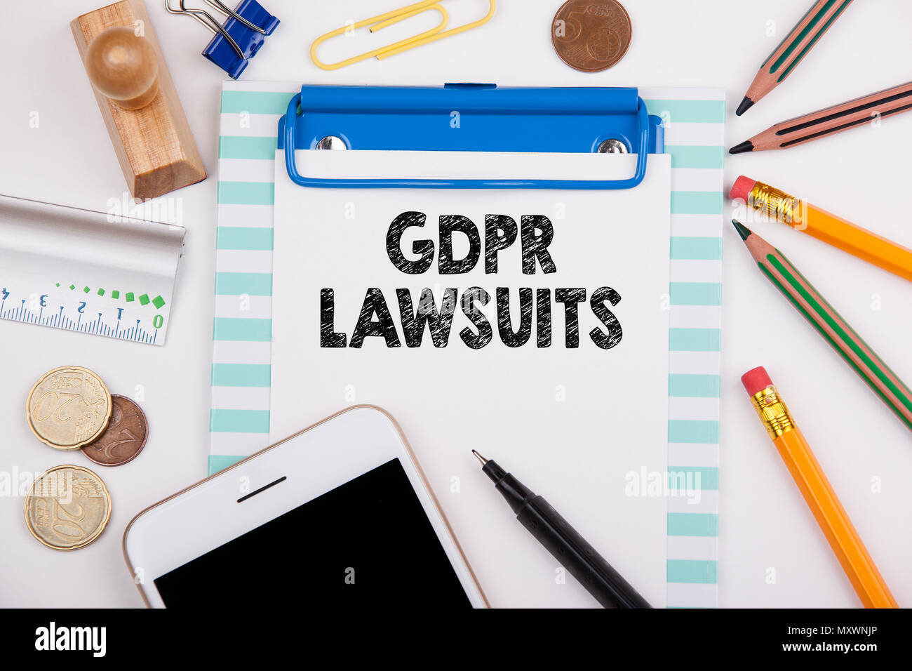 GDPR and lawsuits, business background - Stock Image