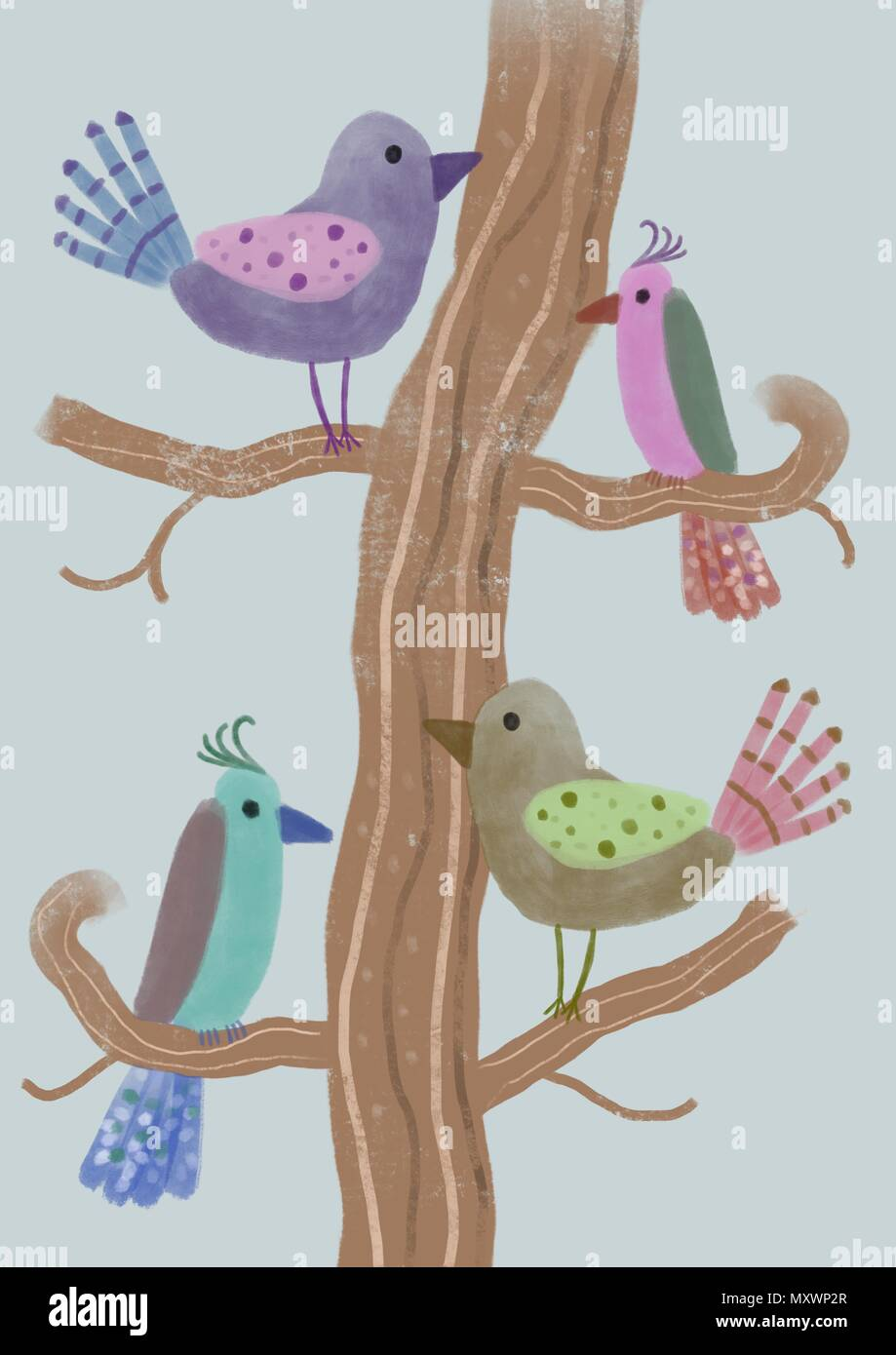 cute illustration of birds - Stock Image