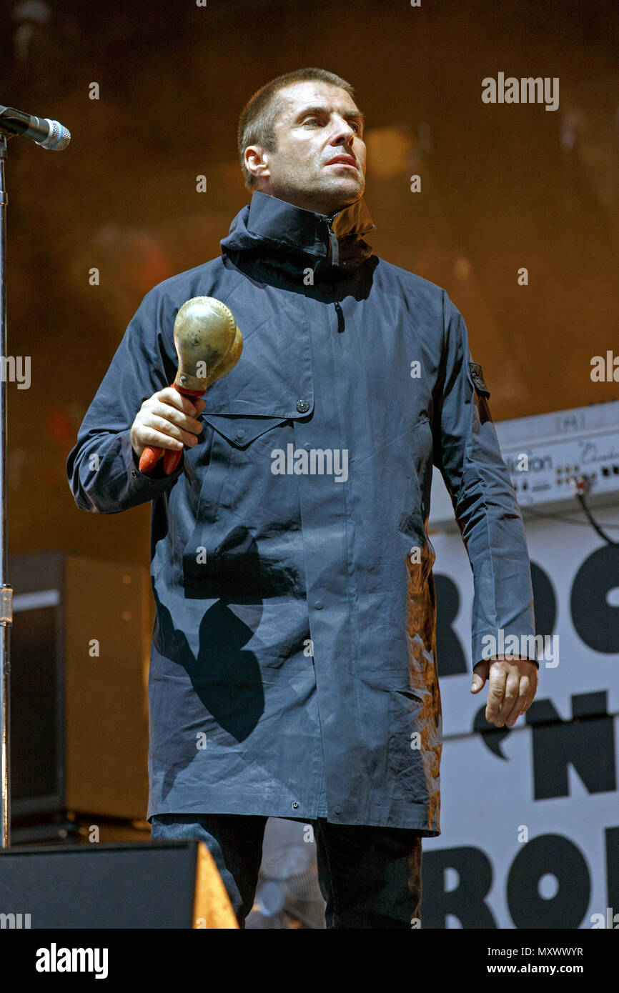 Liam Gallagher live onstage during a solo set. Liam Gallagher live, Liam Gallagher after Oasis, Liam Gallagher solo, Liam Gallagher singer. - Stock Image