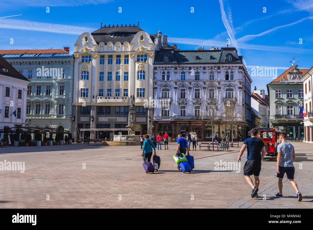 Main Square with Roland Fountain on the Old Town in Bratislava, Slovakia - Stock Image
