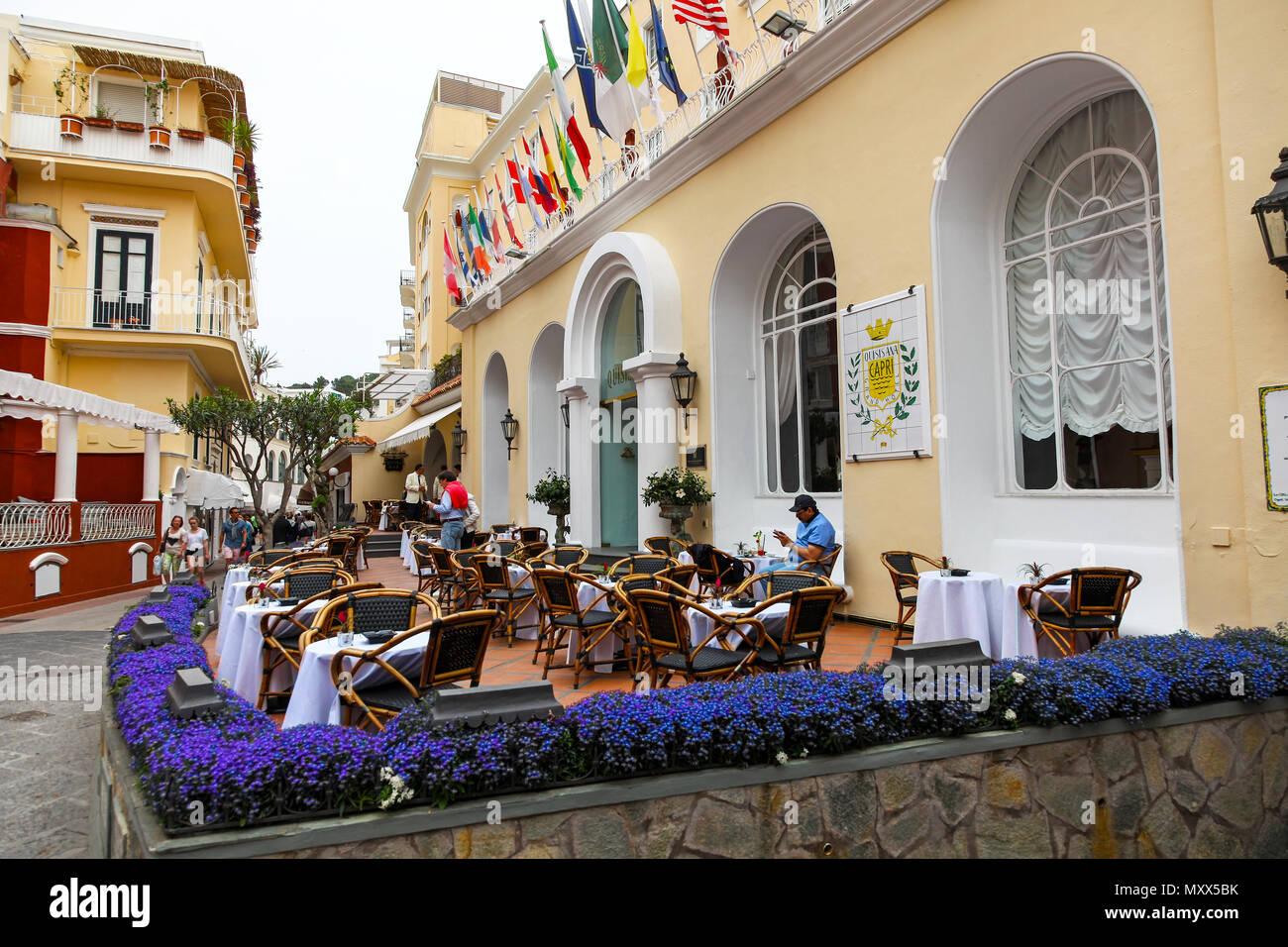 Grand Hotel Quisisana on Via Camerelle on the island of Capri, Italy - Stock Image