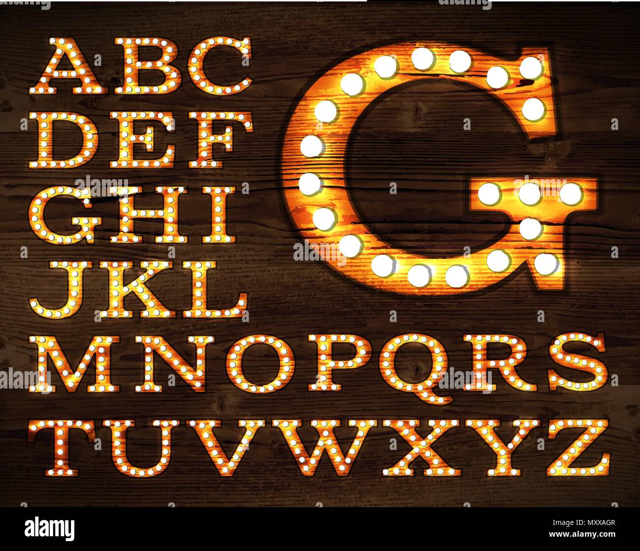 Vector of letters in retro style old lamp alphabet for light board on wood background. Stock Vector