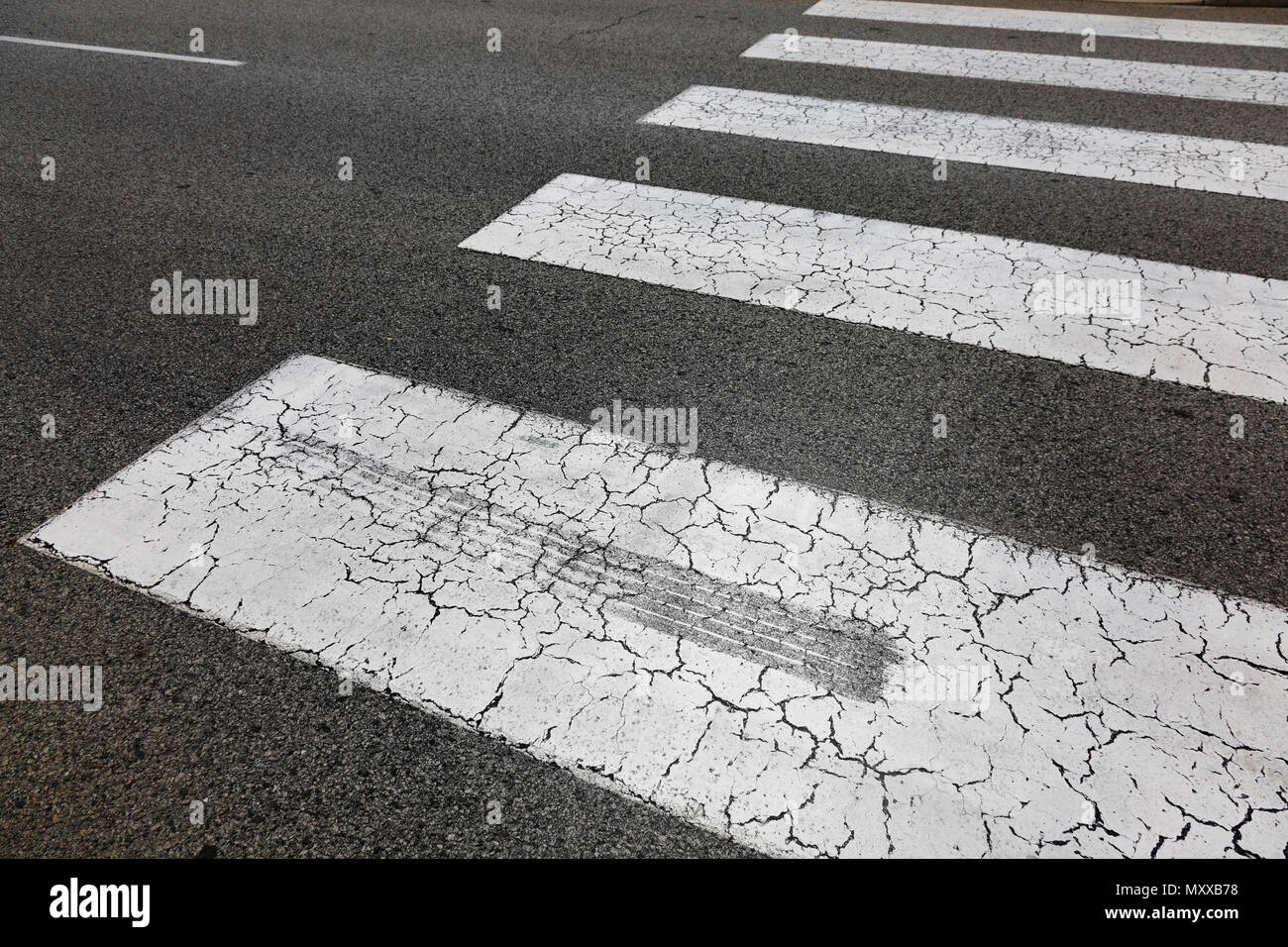 A skid mark on a zebra crossing, road safety concept. Stock Photo