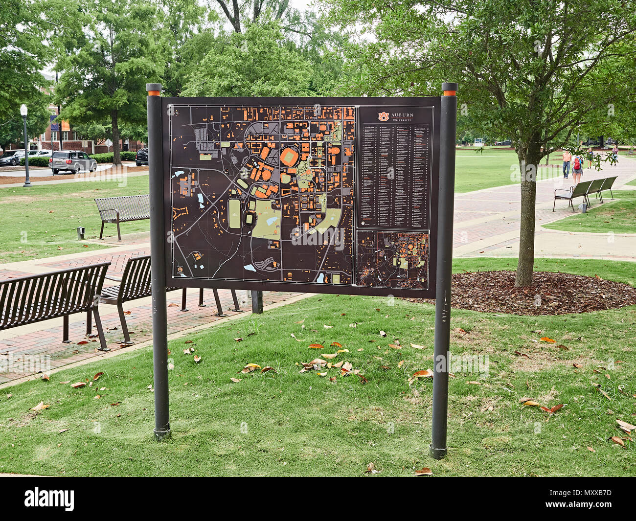 Auburn University campus directory sign posted giving directions to various college buildings in Auburn Alabama, USA. - Stock Image