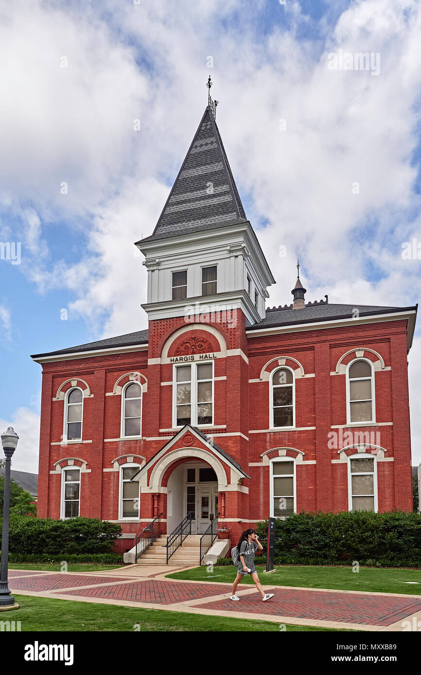 Historic Hargis Hall, built in 1887 on the Auburn University college campus in Auburn Alabama, USA. - Stock Image