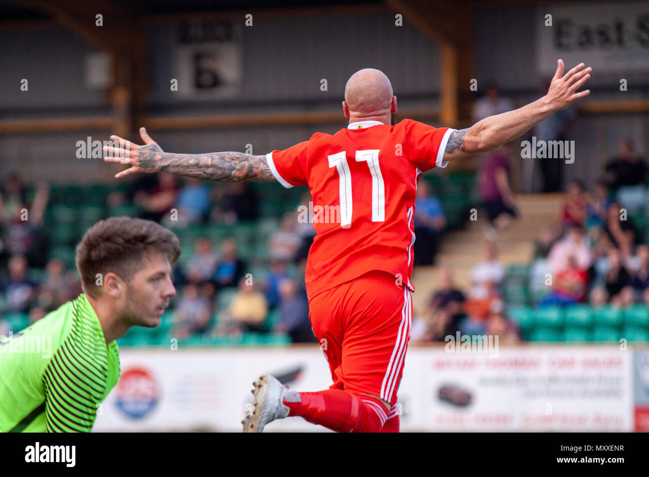 Chris Colvin-Owen of South Wales FA v Region of Gothenburg compete in the preliminary round of the UEFA Regions Cup at Jenner Park. - Stock Image