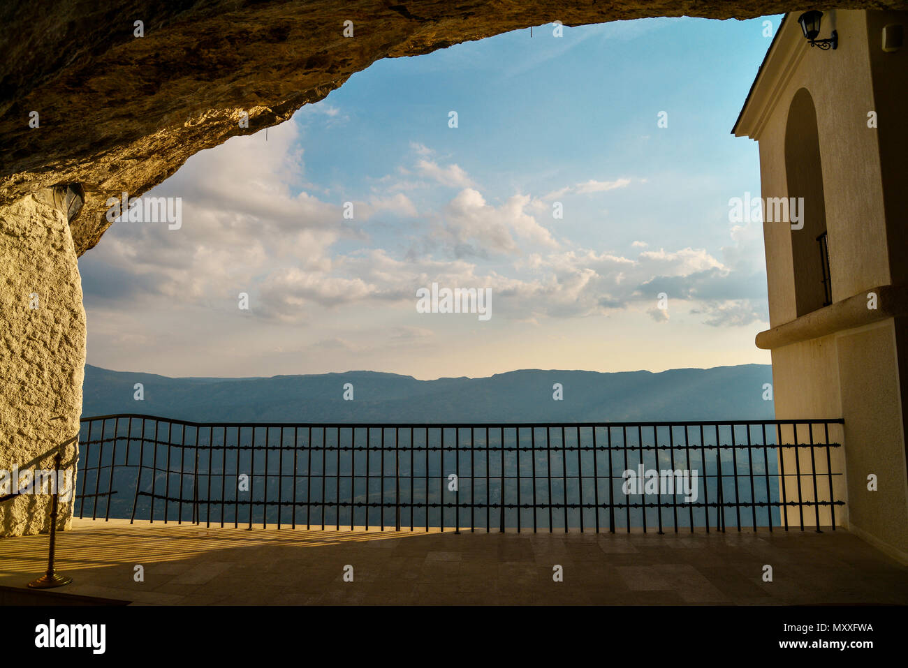 View on mountains from Ostrog monastery in Montenegro - St. Vasilije Ostroski (upper church) Stock Photo