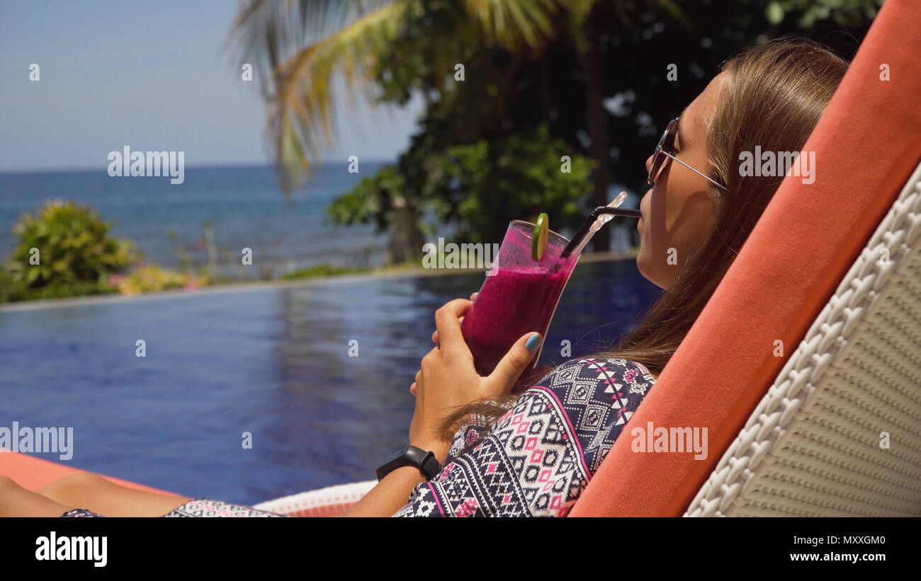 Girl Drink On Tropical Pool Stock Photos Girl Drink On Tropical Pool Stock Images Alamy
