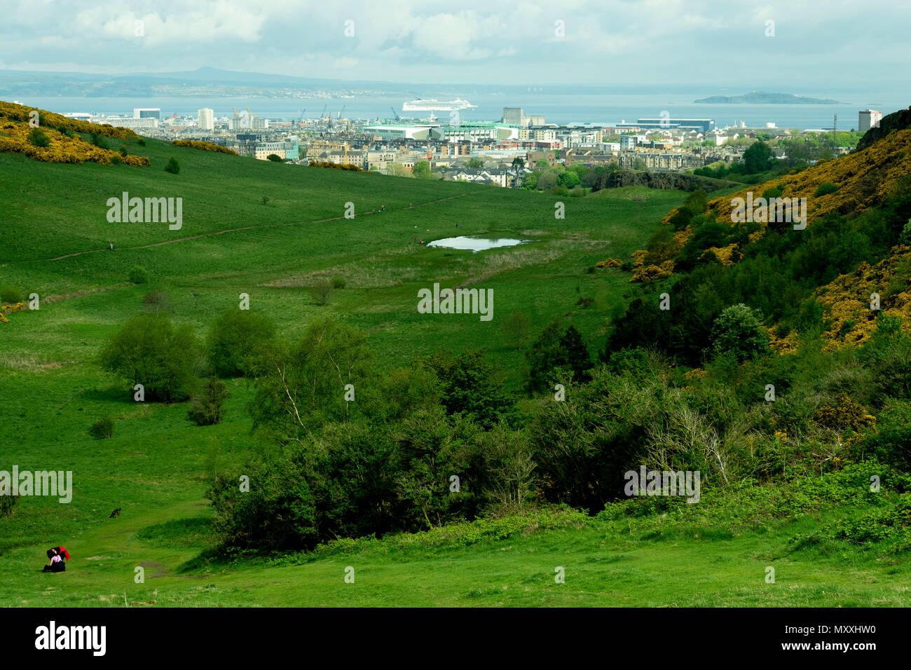 Edinburg view from Holyrood Park, Scotland - Stock Image