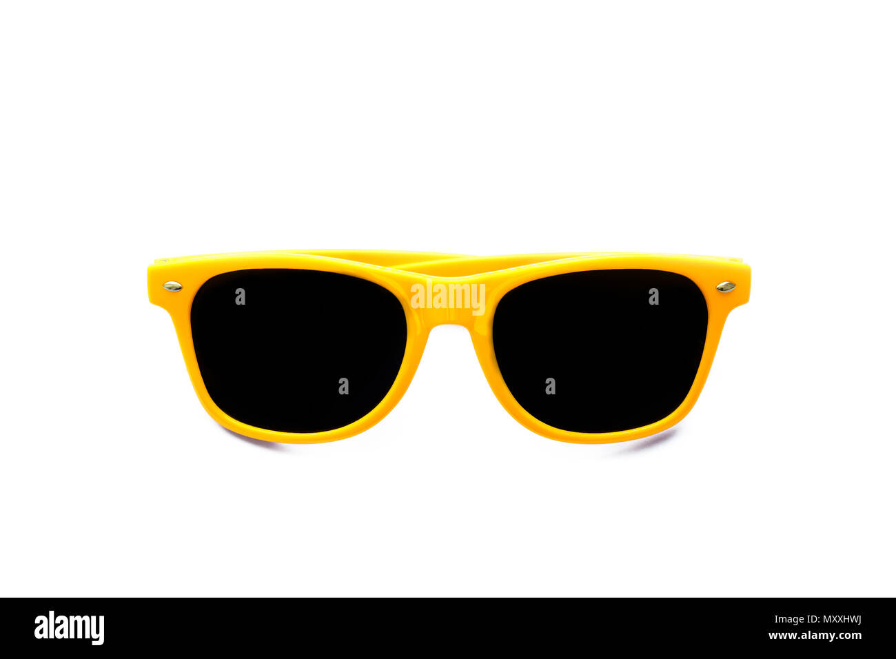 Summer yellow sunglasses isolated in seamless white background. Minimal design element for sun protection, hot days, tropical travel, summer vacations - Stock Image