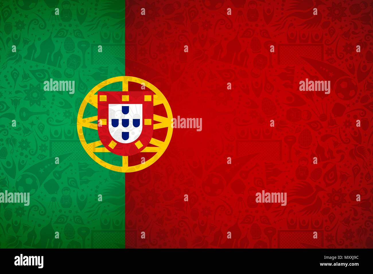 Portugal Flag Symbol Background For Special Soccer Sport Event