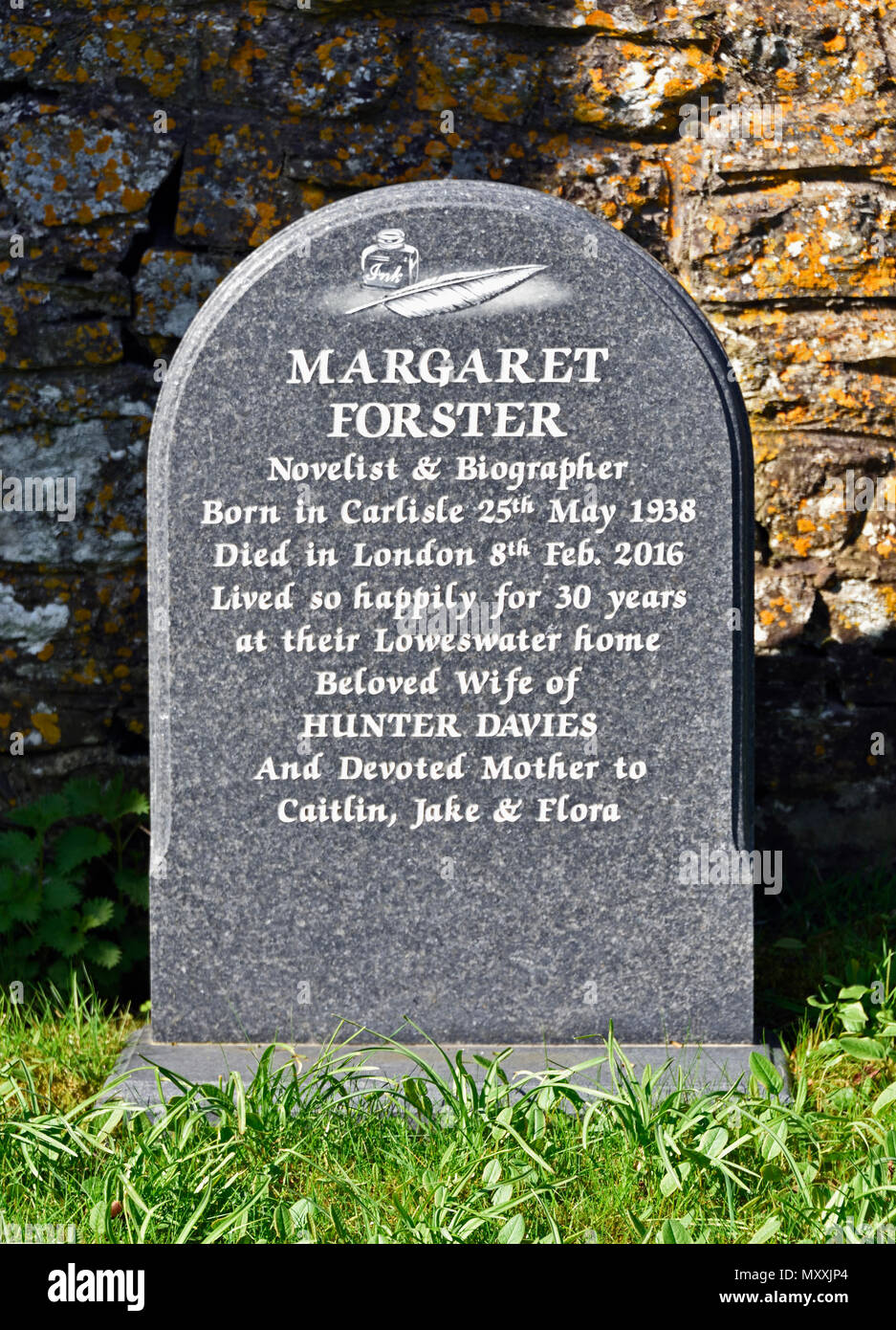 Grave of Margaret Forster, novelist and biographer. Church of Saint Bartholomew, Loweswater, Lake District National Park, Cumbria, England, United Kin - Stock Image