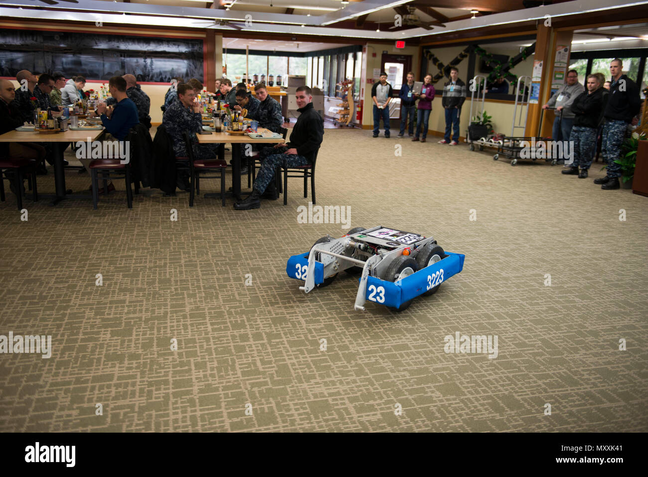 BANGOR, Wash. (Dec. 8, 2016) - Students from the Central Kitsap and Issaquah High School For Inspiration & Recognition of Science & Technology (FIRST) Robotics Teams showcased their competition robots at the Naval Base Kitsap-Bangor Trident Inn Galley during lunch. The schools came to the base to raise program visibility and encourage mentorship and support for the local FIRST organization. (U.S. Navy photo by Petty Officer 1st Class Amanda R. Gray/Released) - Stock Image