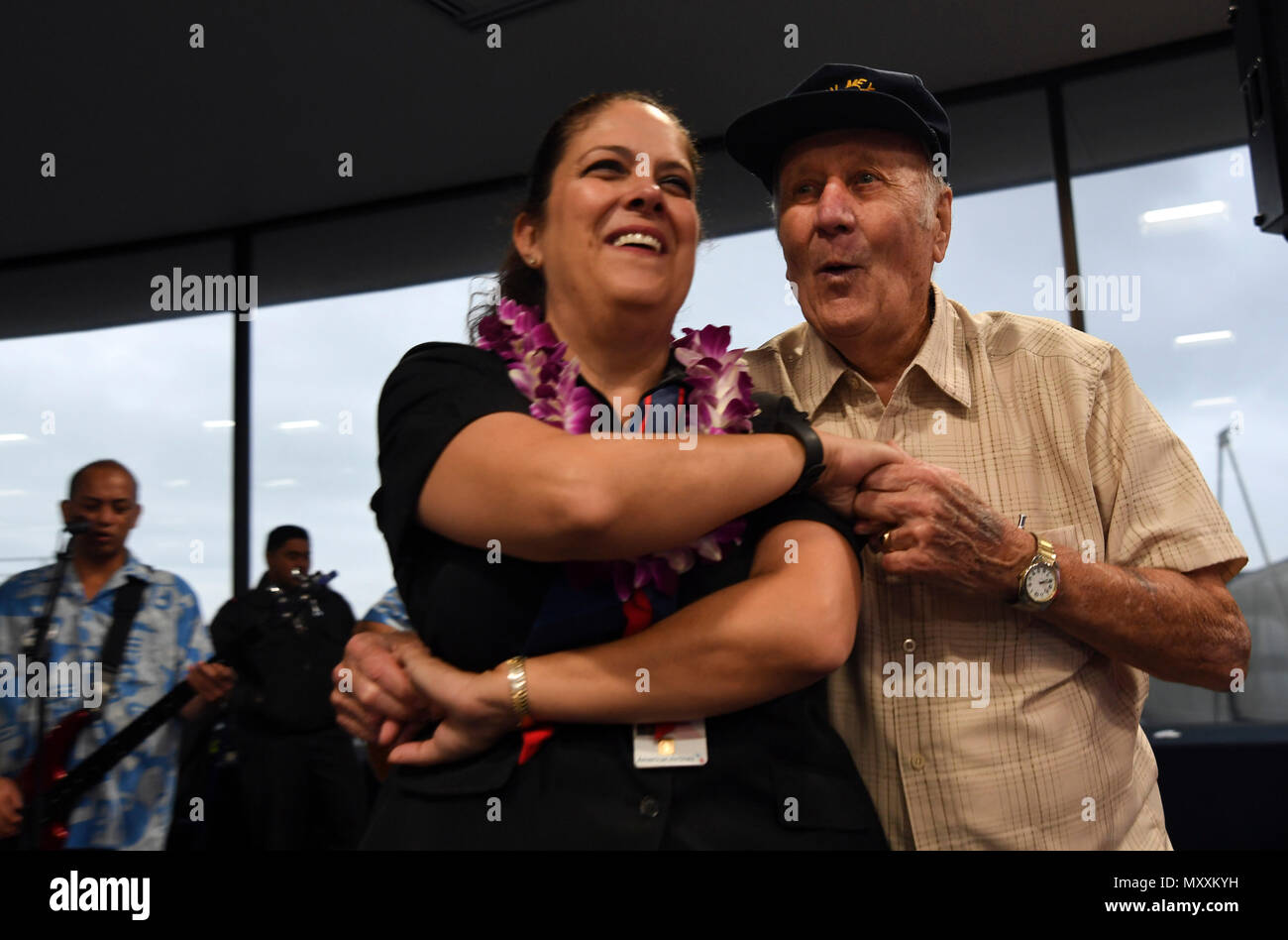 161209 N GI544 185 HONOLULU Dec 9 2016 American Airline Flight Attendant Lisa Popovitch Of Palm Desert California Left Dances With World War II