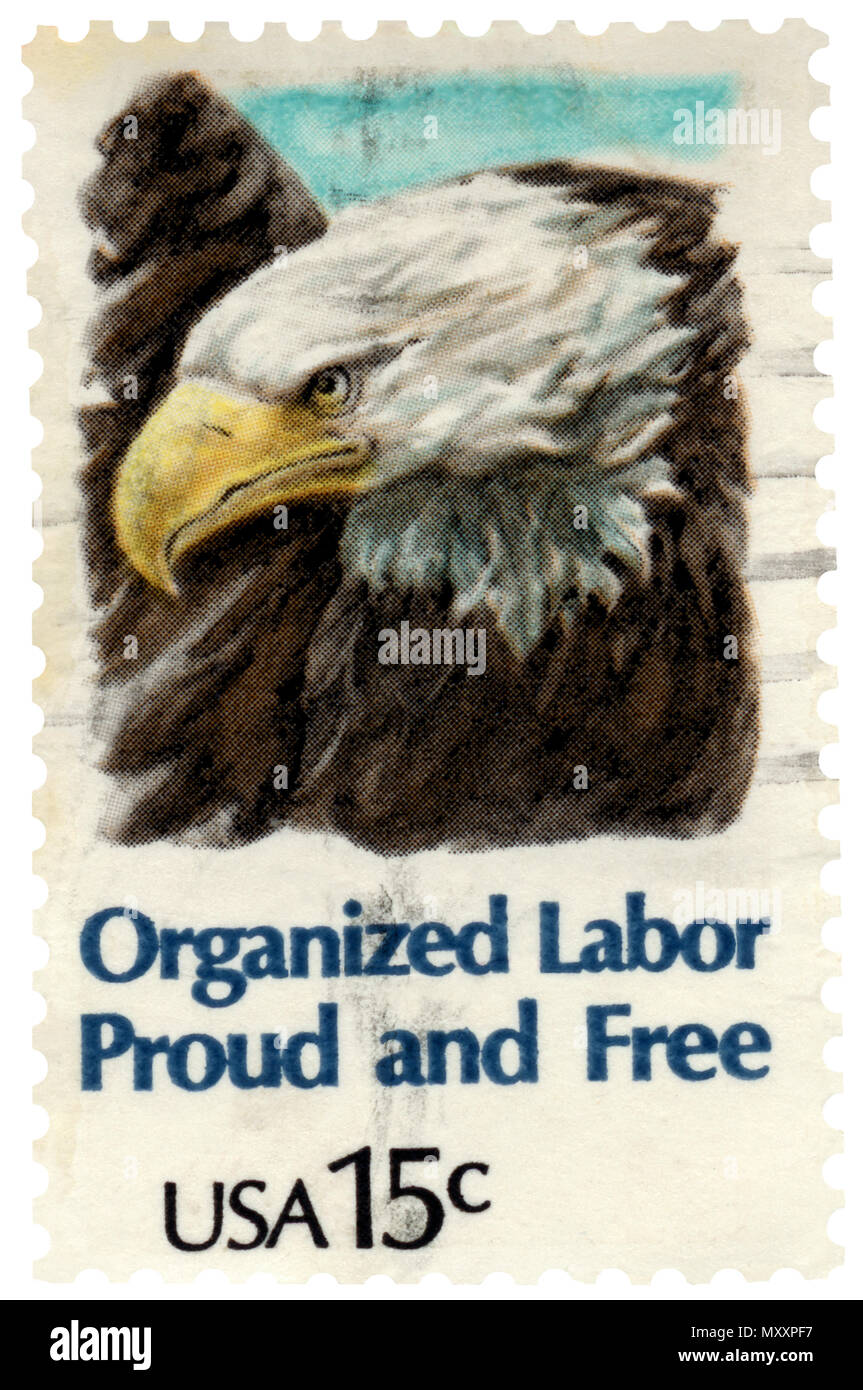 Organized Labor Union Postage Stamp With Bald Eagle