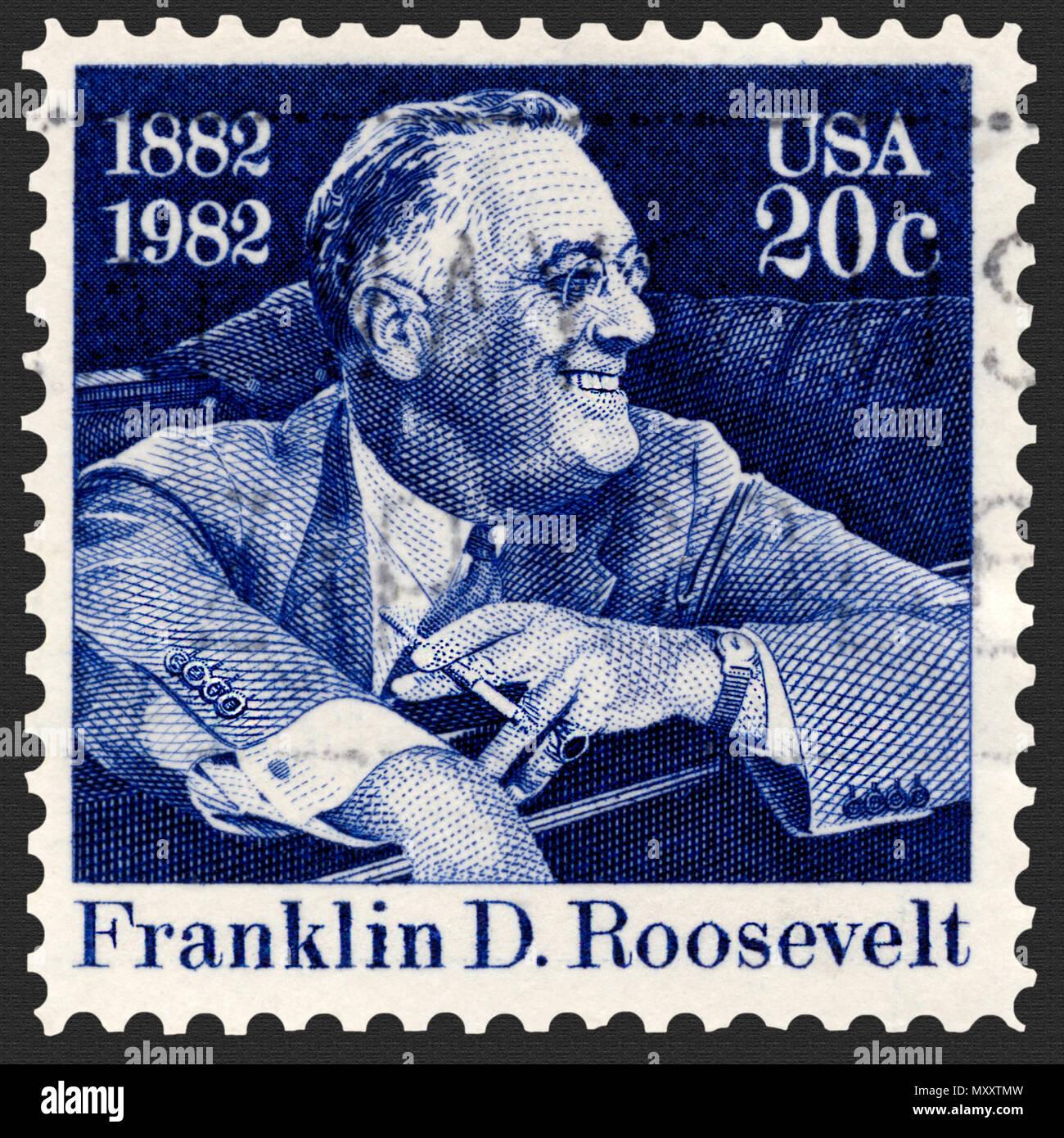 Franklin D Roosevelt Smiling Seated In Car Postage Stamp