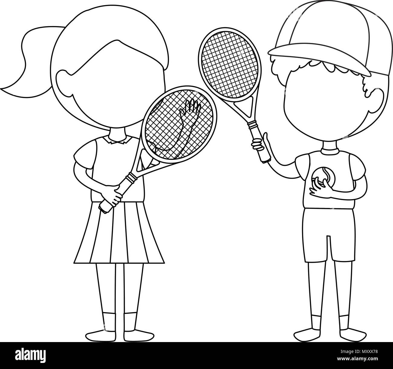 child playing tennis cut out stock images pictures alamy Ping Pong Cartoon Stick little kids couple playing tennis characters stock image