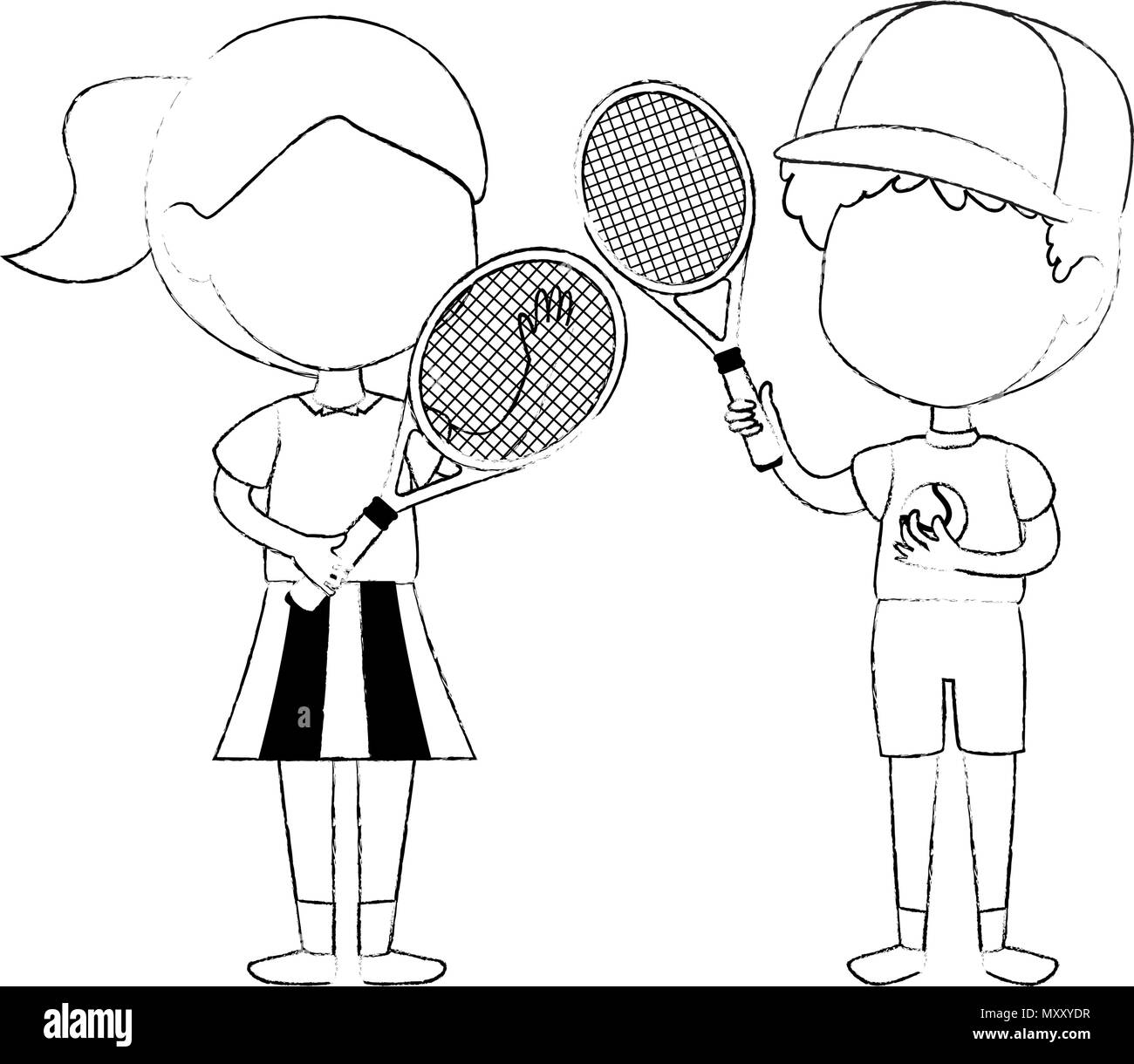 little kids couple playing tennis characters - Stock Image