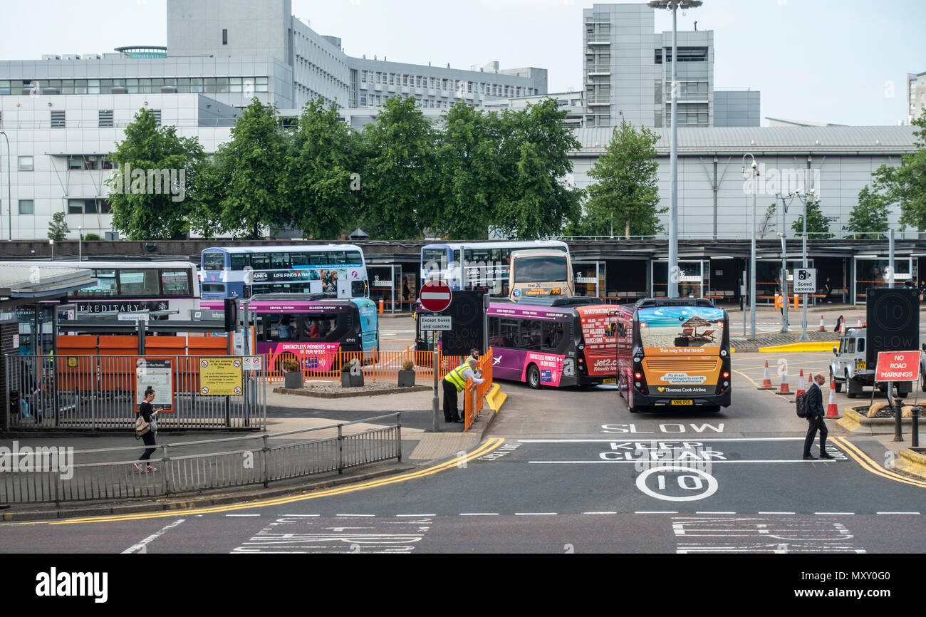 Buchanan bus station, with single deckers and double decker busses, in the city centre of Glasgow, Scotland, UK, Stock Photo