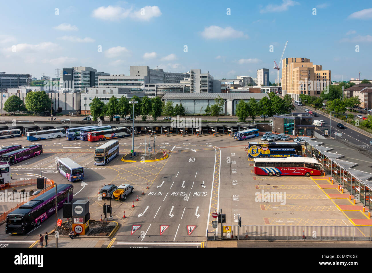 Elevated view of Buchanan Bus Station, in Glasgow city centre, with Caledonian University in the background. This is Glasgow's main bus terminus, - Stock Image
