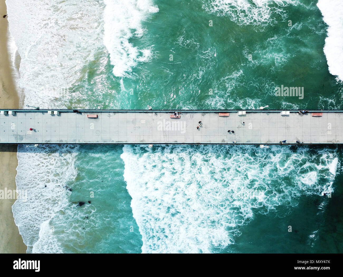Manhattan Beach Pier walk - Stock Image