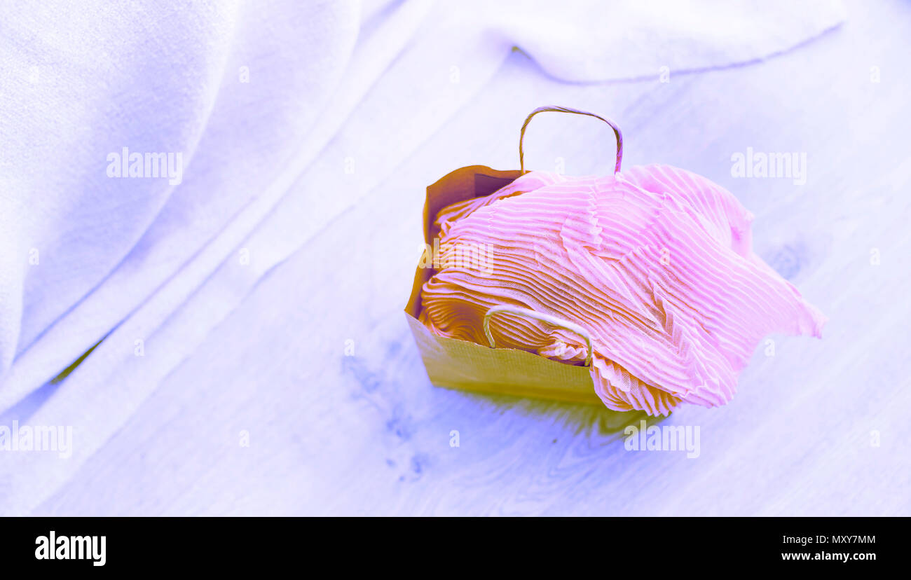Banner Surrealism A set of women's Fashion accessories shopping Jewelry Scarf. Wooden background with place for text - Stock Image