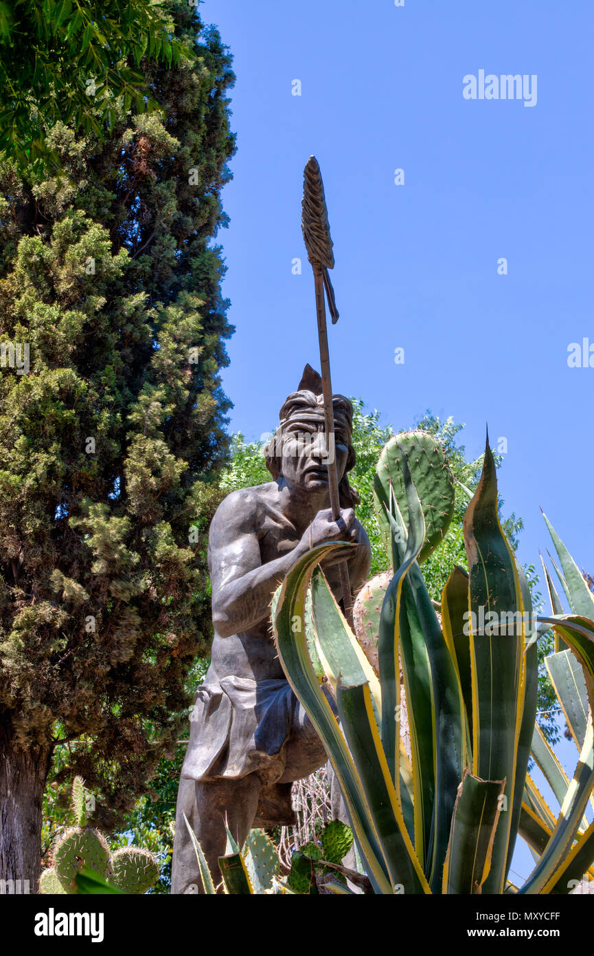 Indian Statue in Zacatecas Park - Stock Image