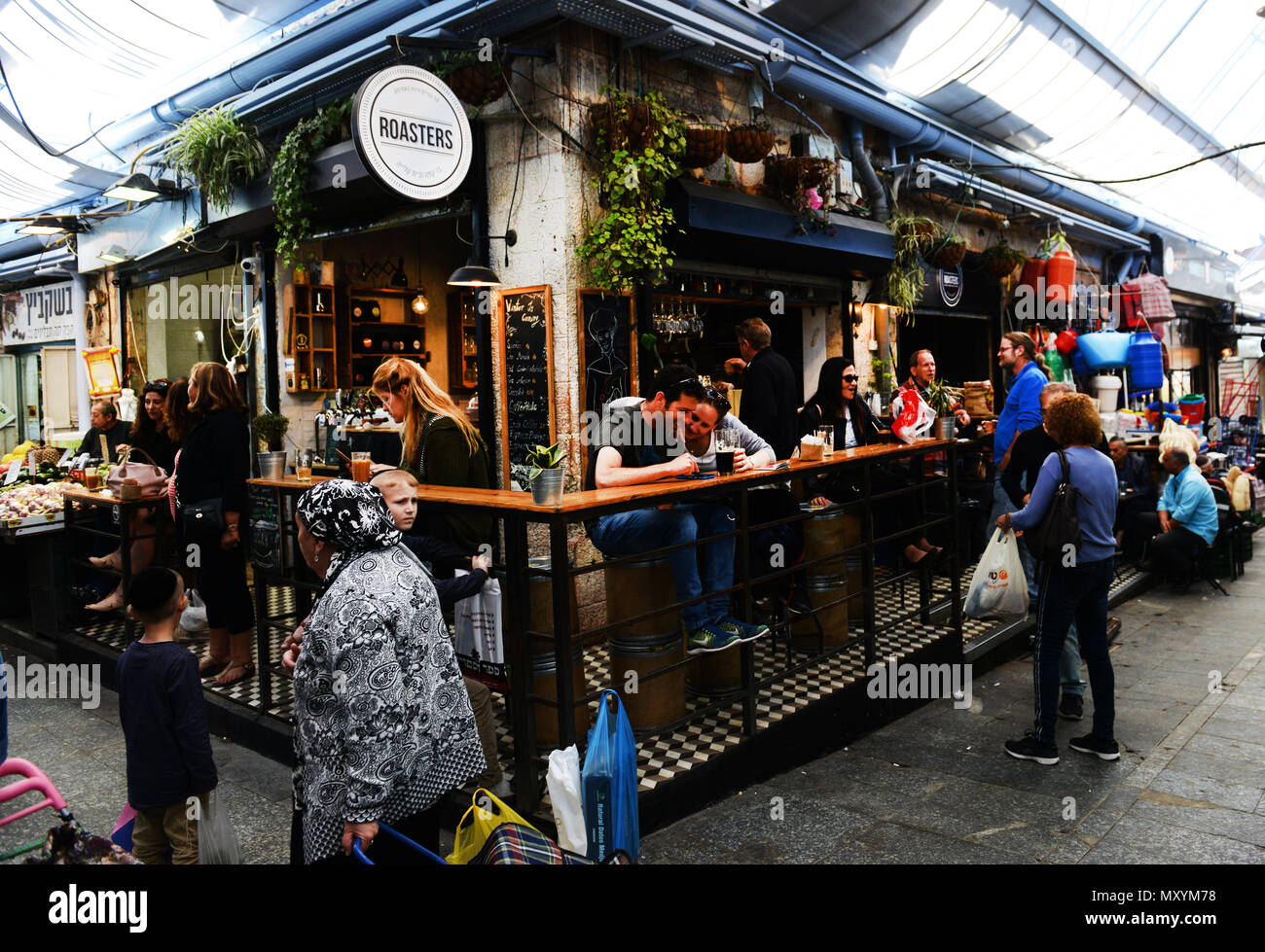 Coffee Roasters cafe in the vibrant Machane Yehuda market. - Stock Image