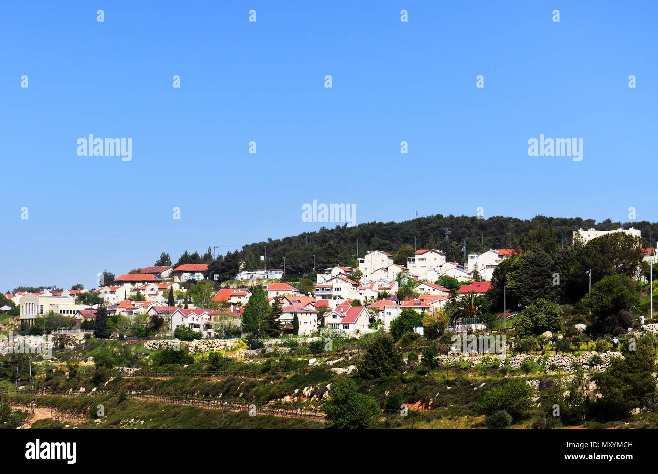 Jewish settlements and towns in the West Bank. - Stock Image