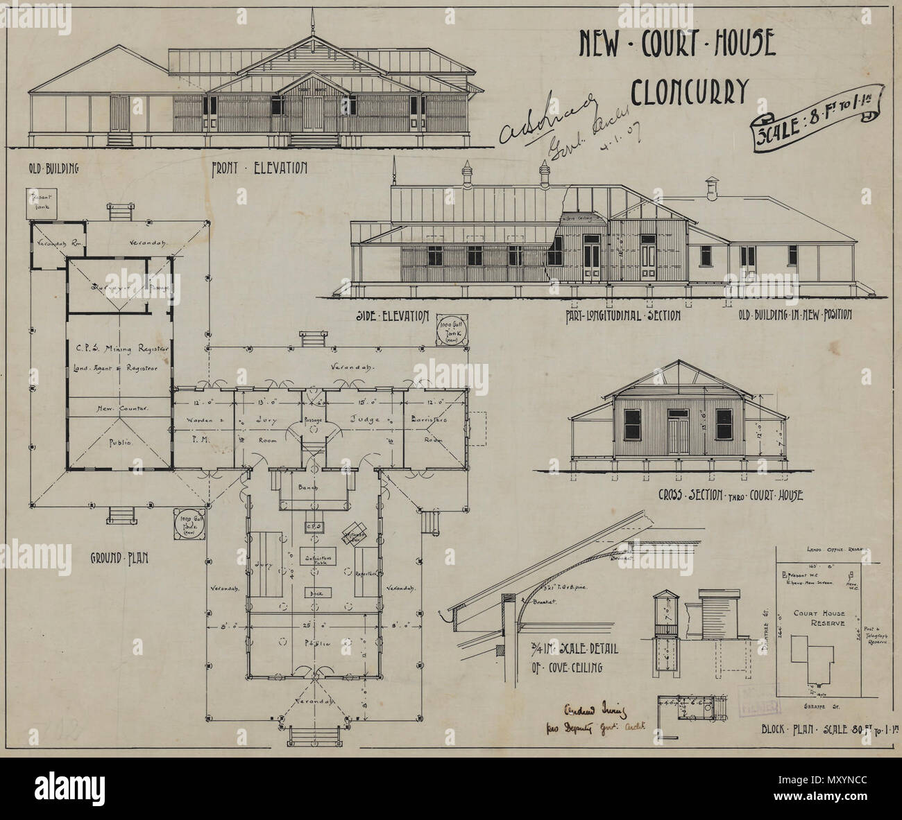 New Court House, Cloncurry, 1907. The original Cloncurry police barracks and court house was built in 1897. These extensions from 1907 more than doubled the the size of the building. It was listed on the Queensland Heritage Registerid=600415 )  in 1992. - Stock Image