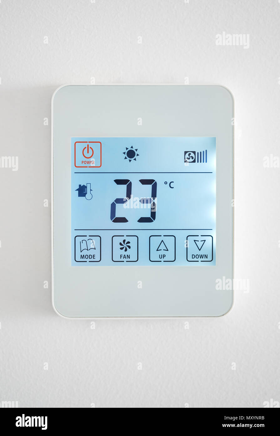 Climate control system on a white wall - Stock Image
