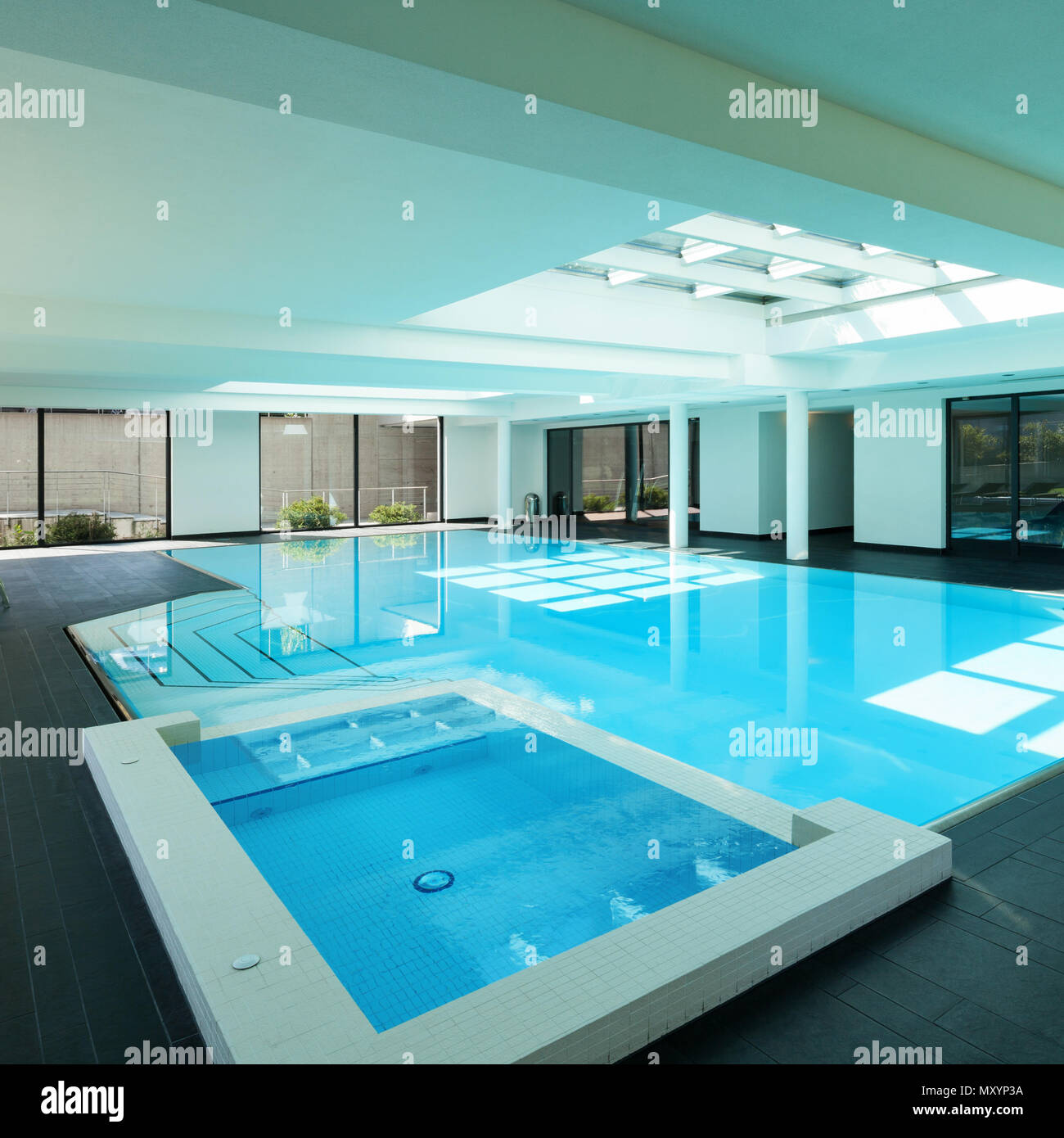 Indoor Swimming Pool Of A Modern House With Spa Stock Photo Alamy