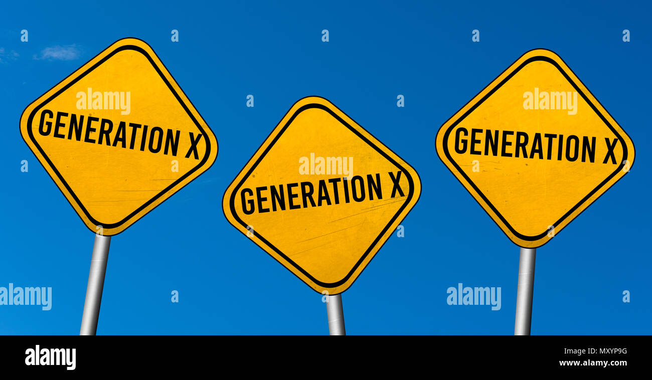 Generation X - yellow signs with blue sky - Stock Image