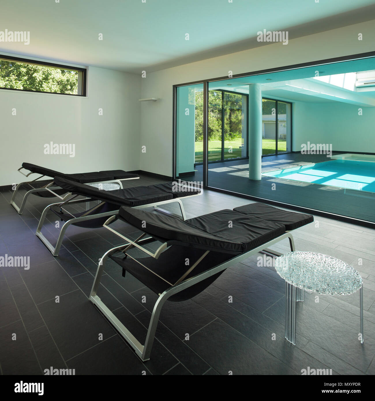 Indoor Swimming Pool Of A Modern House With Spa Room With Sunbeds Stock Photo 188695075 Alamy