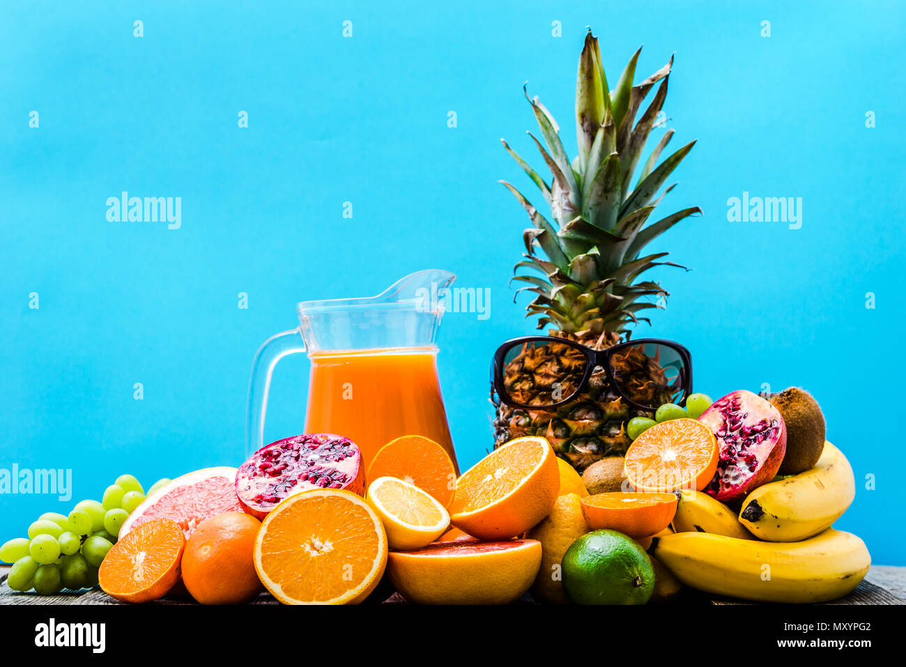 Fruit Juice With Tropical Fruits Healthy Drink With Refreshing Orange And Pineapple Stock Photo Alamy