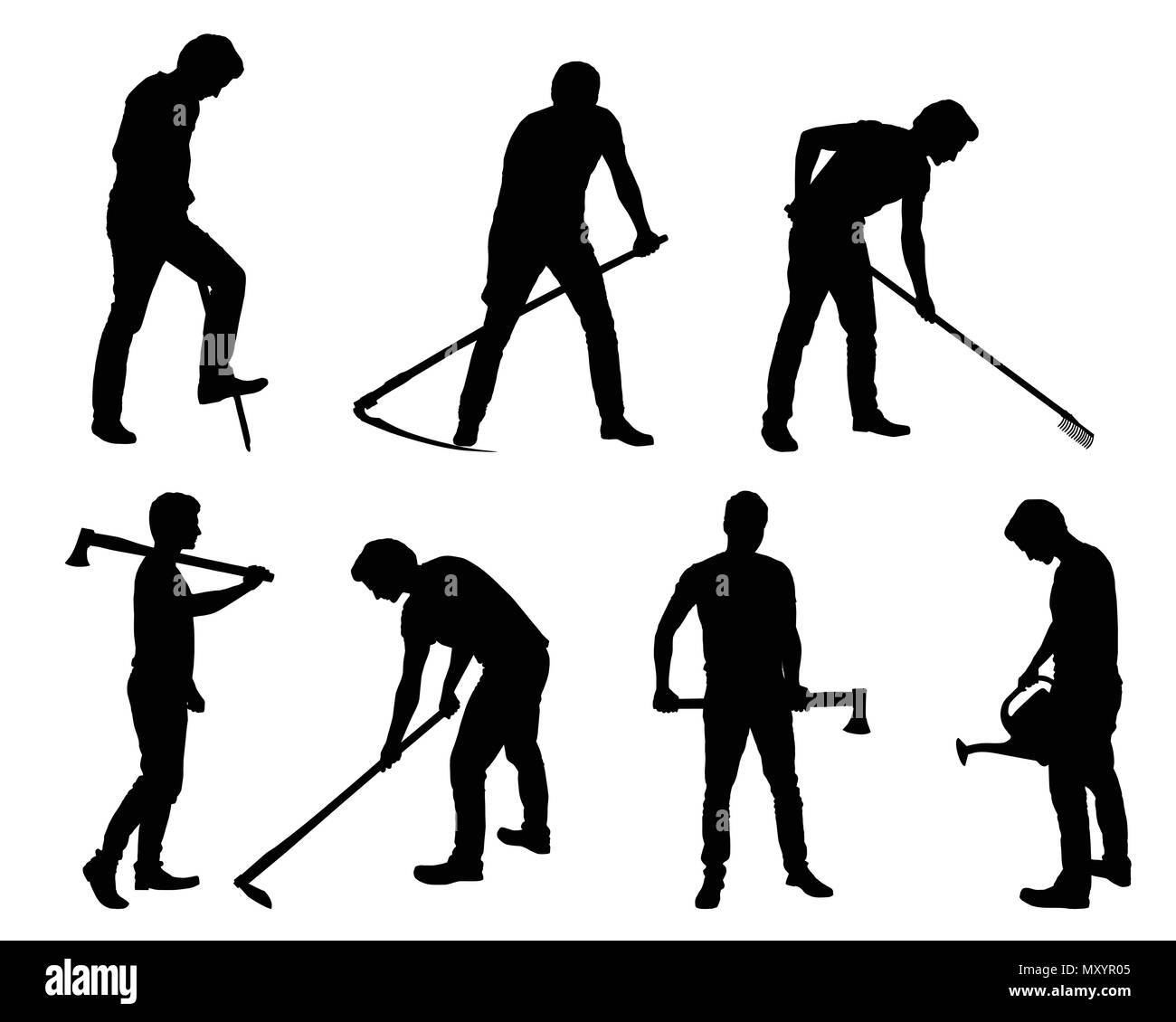 Set silhouette of young man - gardener or farmer with tools in different poses - vector Stock Vector