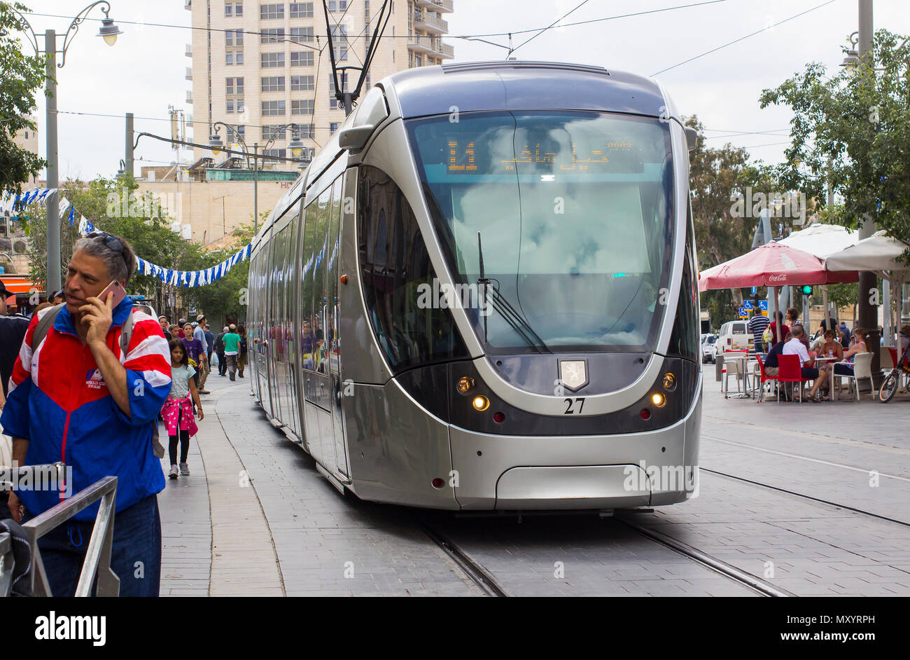 9 May 2018 An electric powered tram on the modern light rail system that forms a vital part of the travel network in the city of Jerusalem Israel. - Stock Image