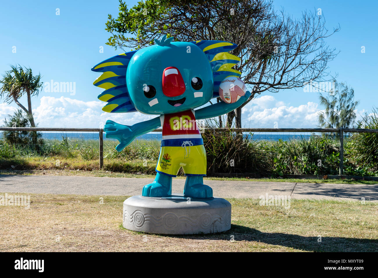 Surfers Paradise, Gold Coast, Australia, Borobi Sculptures became the official logos of the 21st Commonwealth Games a stylised Koala in the tradition  - Stock Image