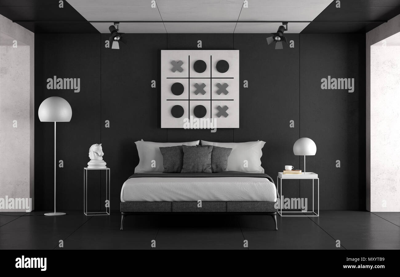 Black And White Master Bedroom With Minimalist Furniture And Concrete Walls 3d Rendering Stock Photo Alamy