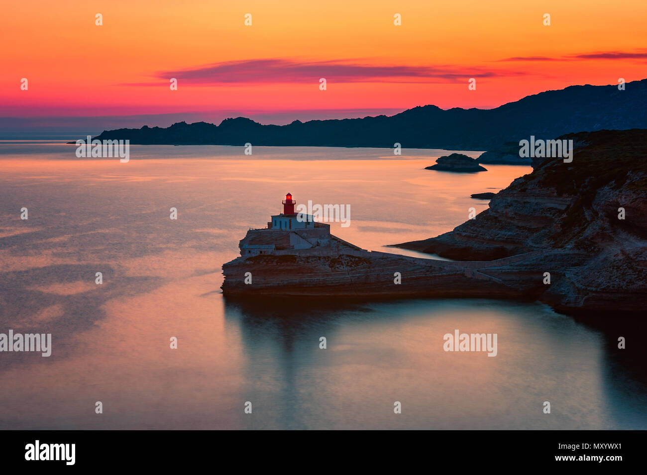 Lighthouse in Bonifacio, Corsica, France at Sunset - Stock Image