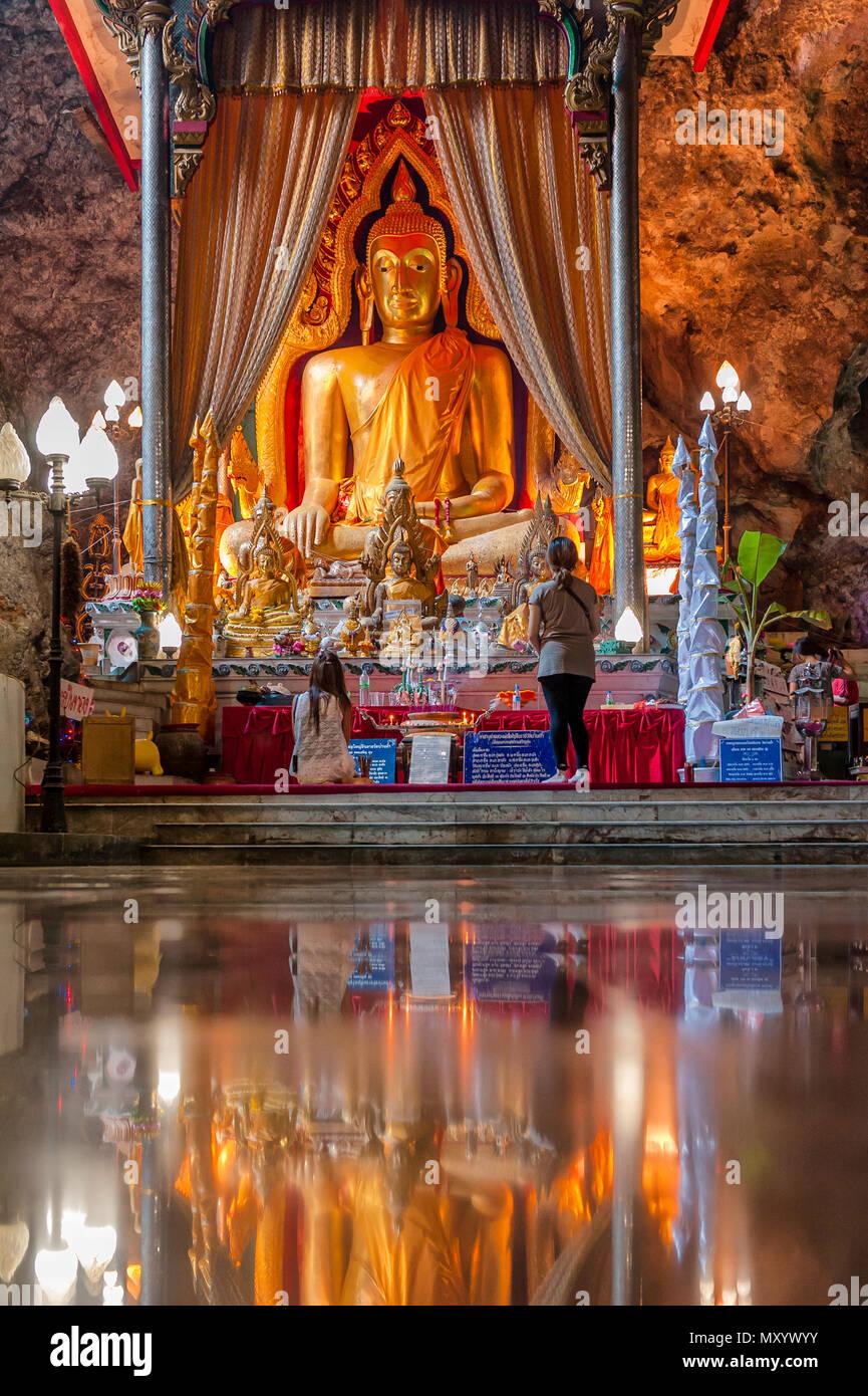 Wat Ban Tham cave temple. Khao Noi, Tha Muang District, Kanchanaburi 71110, Thailand - Stock Image
