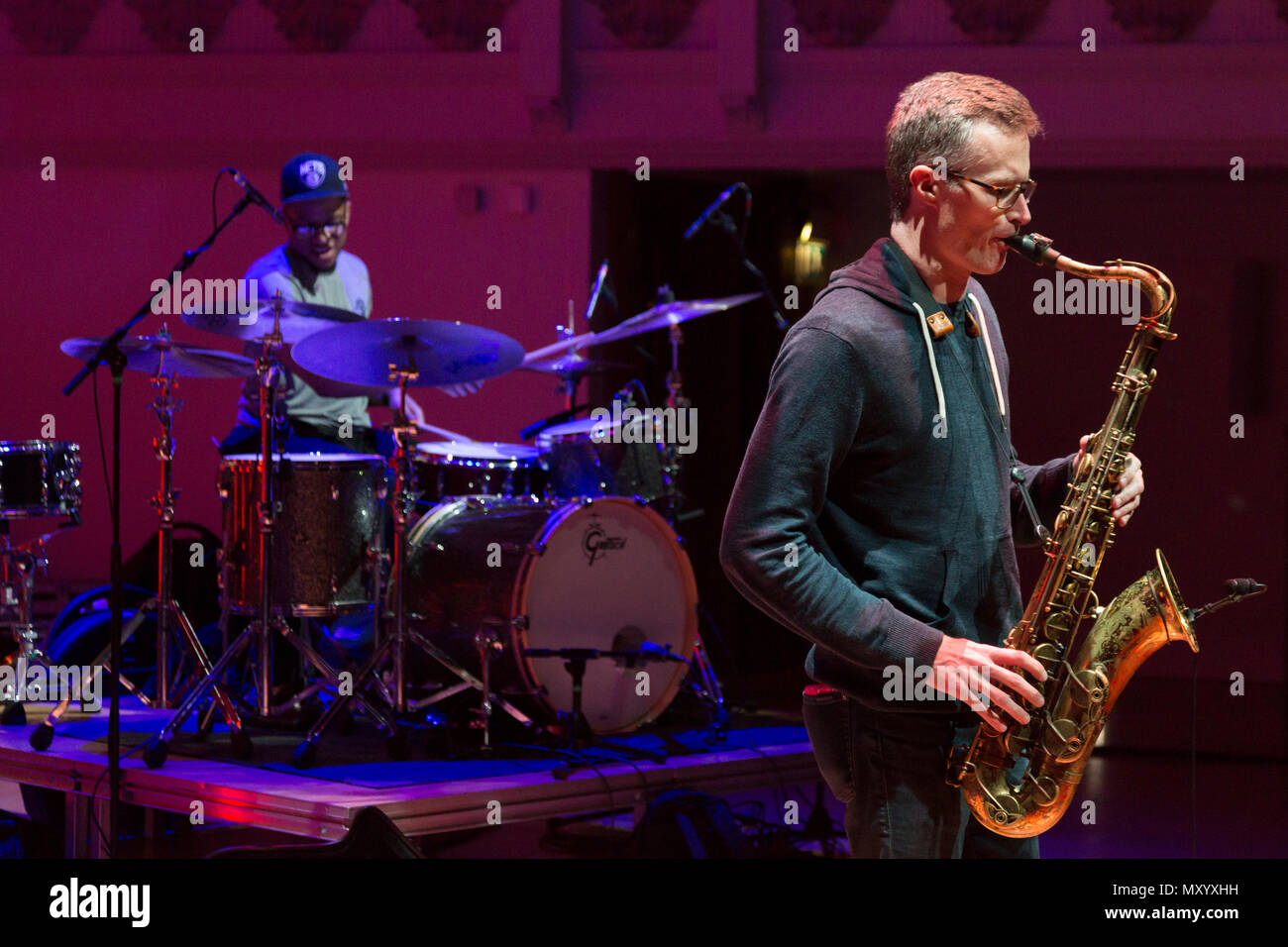 Bob Reynolds Quartet, sound check at London Saxophone Festival, Cadogan Hall, Chelsea. May 2018 - Stock Image
