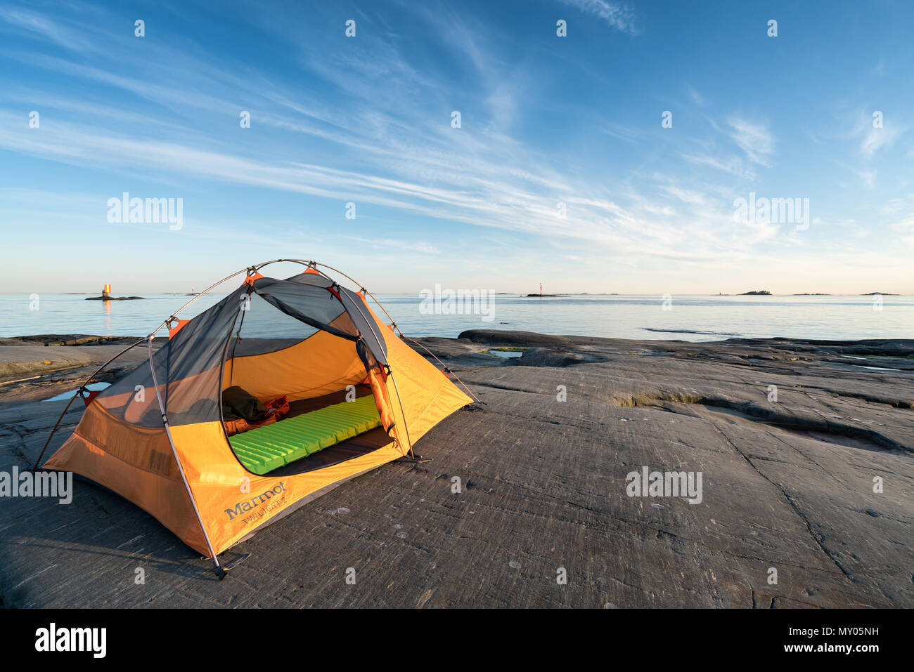 Camping at Glosholm island, Porvoo archipelago, Finland, Europe, EU - Stock Image