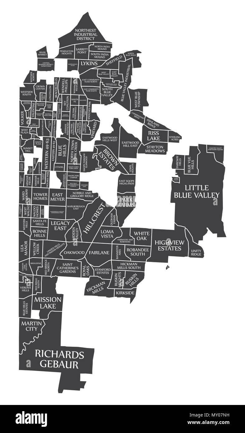 Kansas Missouri city map USA labelled black illustration Stock ...
