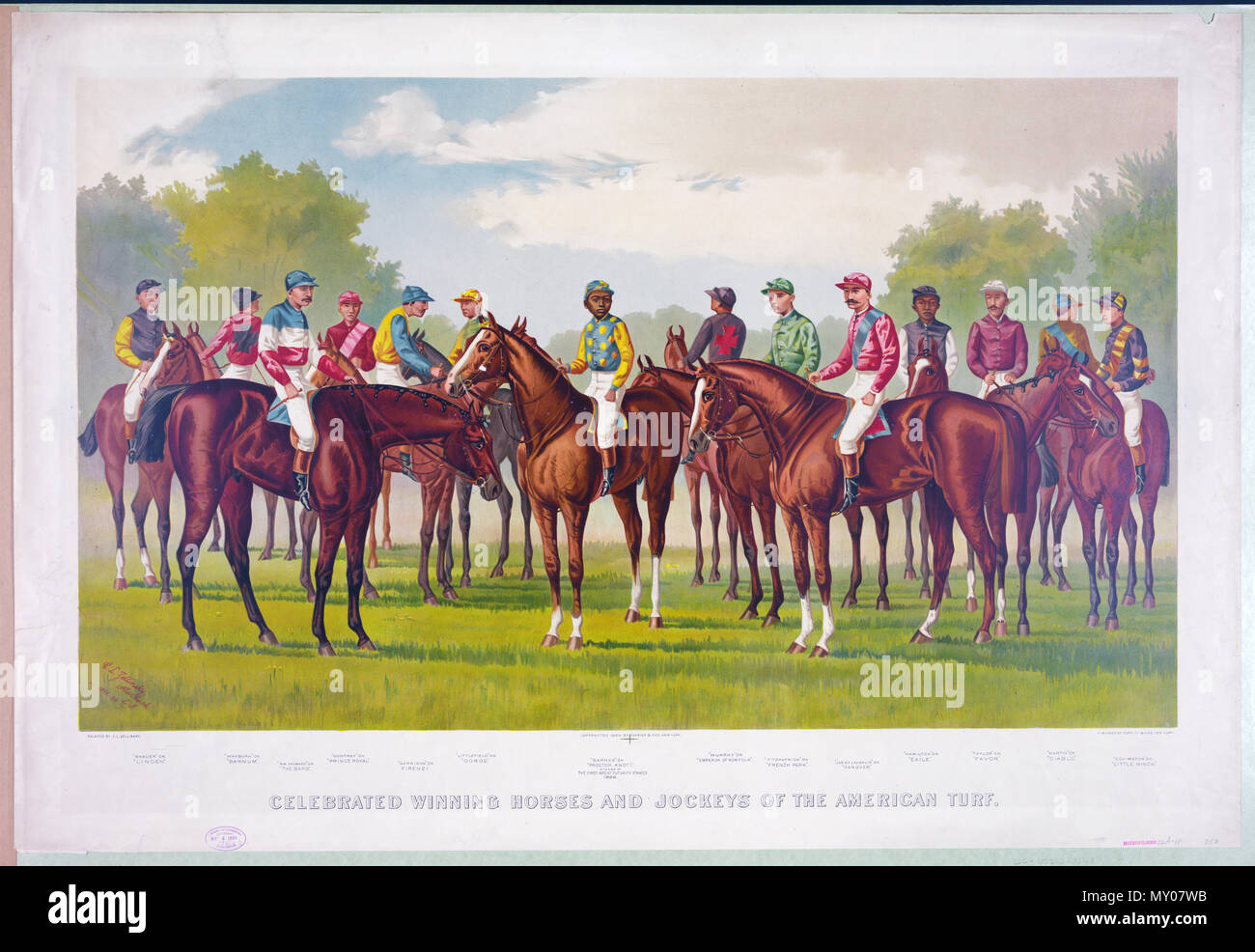 Currier & Ives - Celebrated winning horses and jockeys of the american turf c 1889 - Stock Image