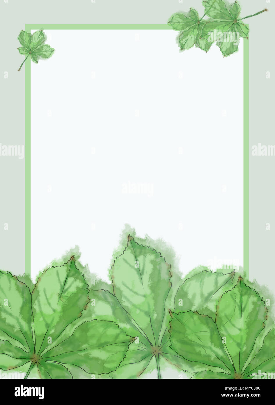 Watercolor Frame With Green Leaves Template For Prints