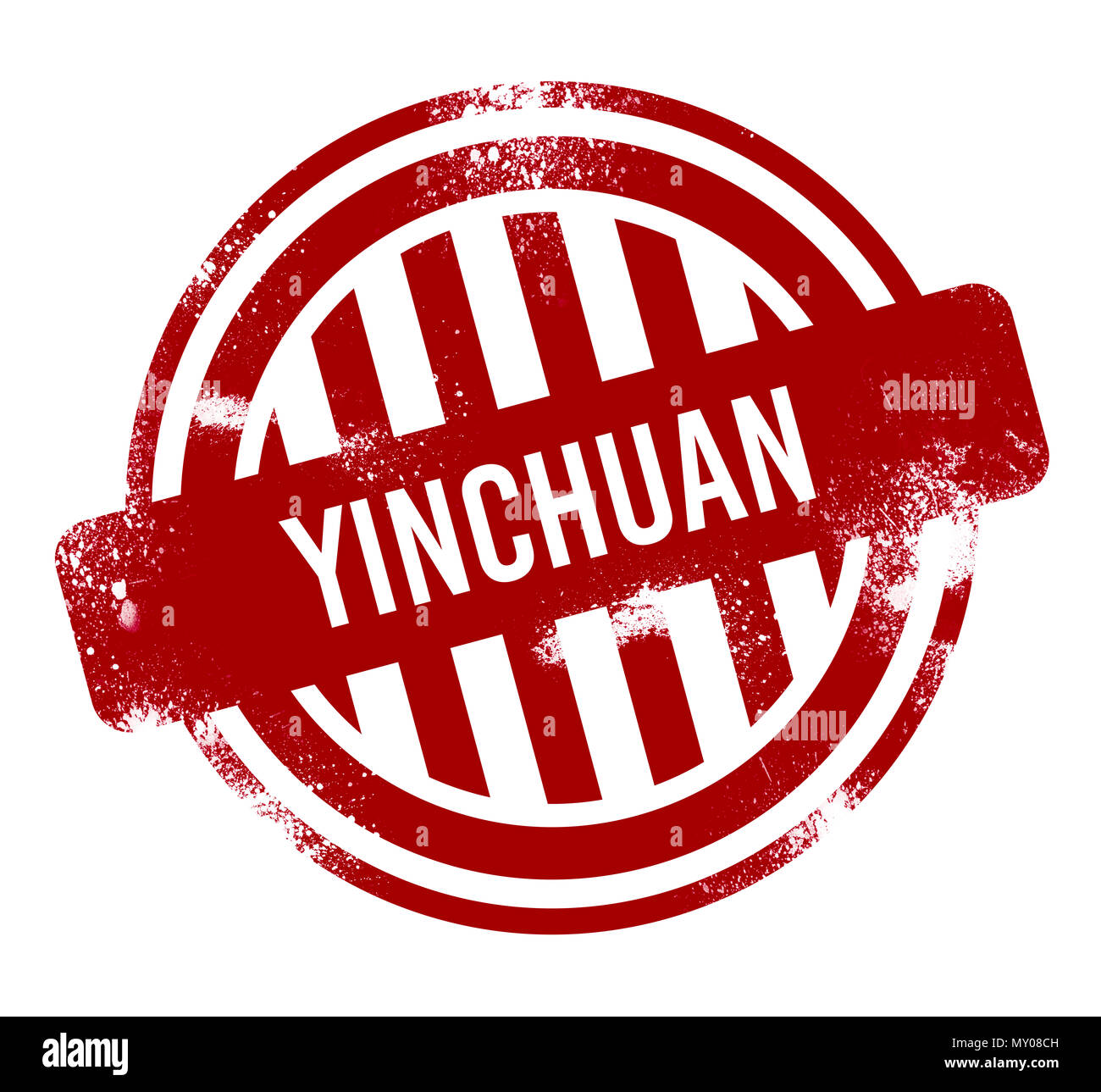 Yinchuan - Red grunge button, stamp Stock Photo