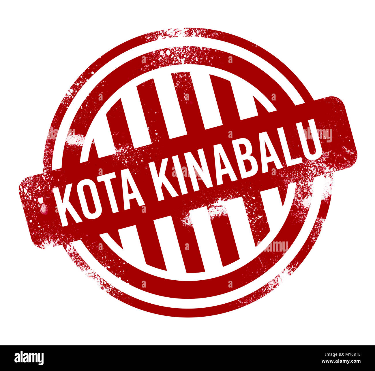 Kota Kinabalu - Red grunge button, stamp - Stock Image