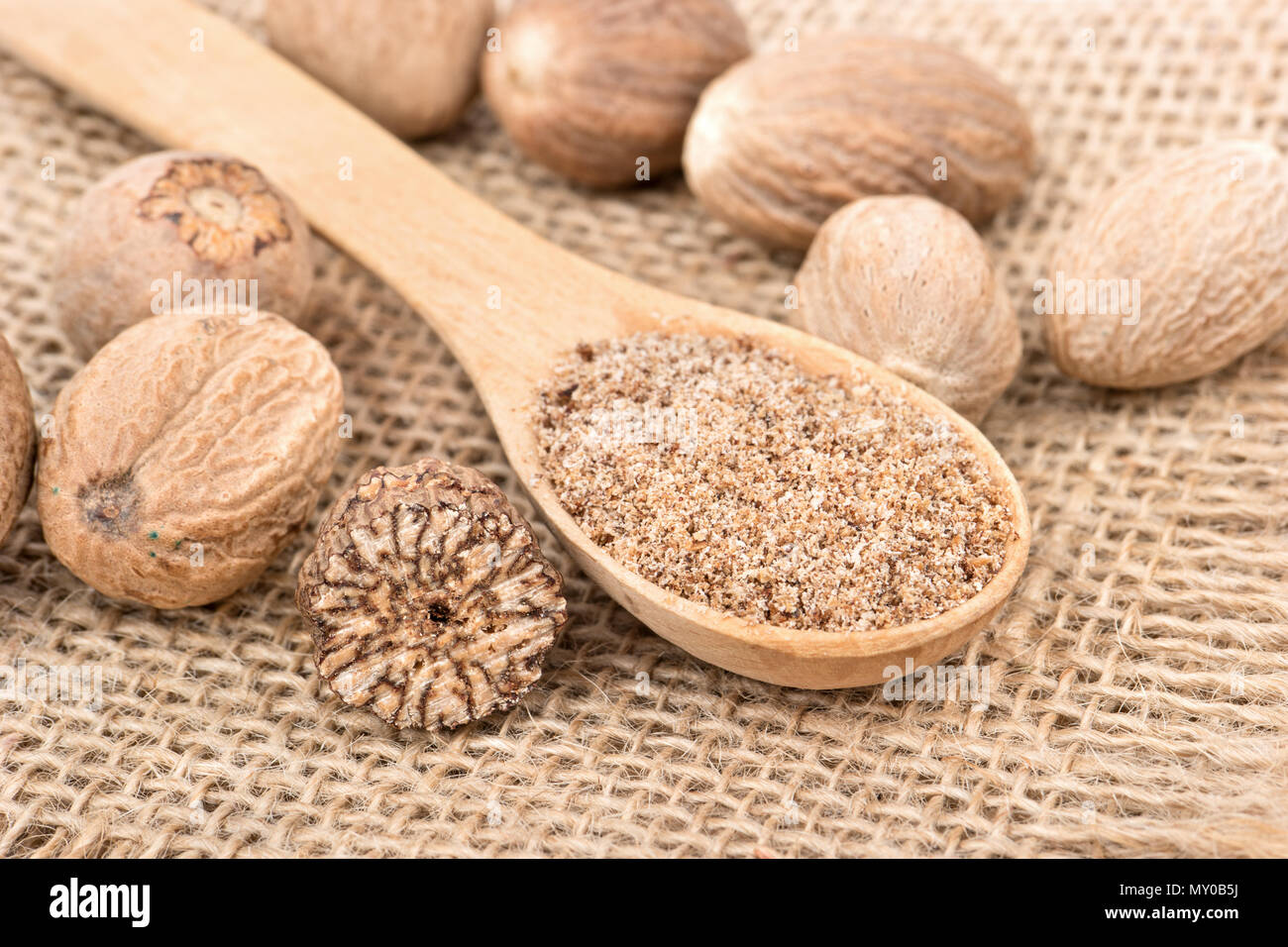 Spice nutmeg in the spoon with scattered nuts on burlap - Stock Image