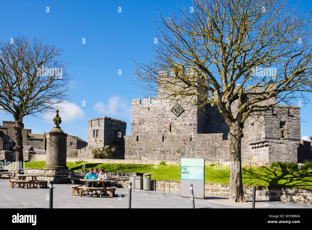 Medieval Castle Rushen in historic old town. Market Square, Castletown, Isle of Man, British Isles Stock Photo